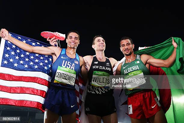 Gold medalist Matthew Centrowitz of the United States bronze medalist Nicholas Willis of New Zealand and silver medalist Taoufik Makhloufi of Algeria...