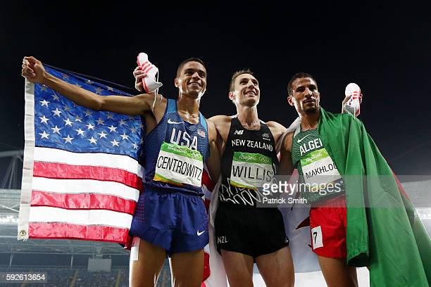Gold medalist Matthew Centrowitz of the United States, bronze medalist Nicholas Willis of New Zealand and silver medalist Taoufik Makhloufi of...