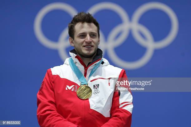 Gold medalist Matthias Mayer of Austria celebrates during the Medal Ceremony for Alpine Skiing Men's SuperG on day seven of the PyeongChang 2018...