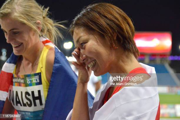 Gold medalist Maya Nakanishi of Japan celebrates after competing in the Women's Long Jump T64 Final on day five of the World Para Athletics...