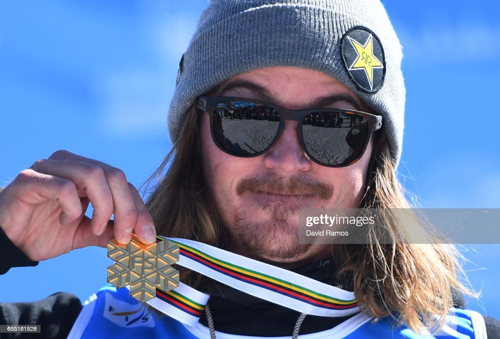 Gold medalist Mcrae Williams of the United States poses during the medal cermony for the Men's Slopestyle final on day twelve of the FIS Freestyle Ski & Snowboard World Championships 2017 on March 19, 2017 in Sierra Nevada, Spain.