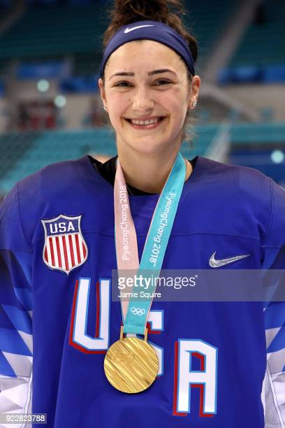 Gold medalist Megan Keller of the United States celebrates after defeating Canada in a shootout in the Women's Gold Medal Game on day thirteen of the...