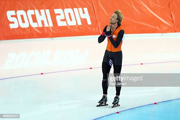 Gold medalist Michel Mulder of the Netherlands celebrates after the Men's 500 m Race 2 of 2 Speed Skating event during day 3 of the Sochi 2014 Winter...