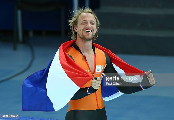 Gold medalist Michel Mulder of the Netherlands celebrates after competing during the Men's 500 m Race 2 of 2 Speed Skating event during day 3 of the...