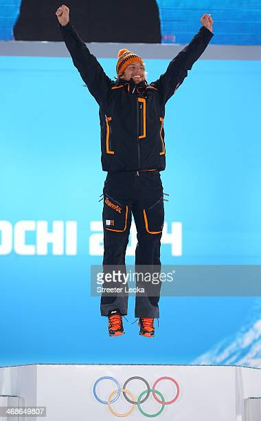 Gold medalist Michel Mulder of the Netherlands celebrates during the medal ceremony for the Men's 500m Speed Skating on day 4 of the Sochi 2014...