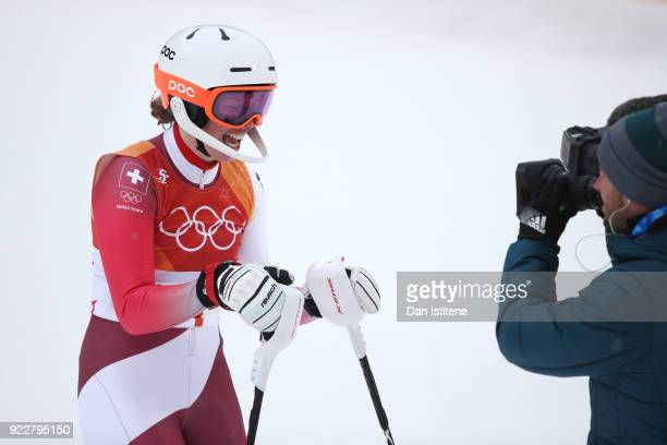 Gold medalist Michelle Gisin of Switzerland celebrates at the finish dur ing the Ladies' Alpine Combined on day thirteen of the PyeongChang 2018...