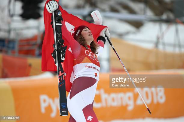Gold medalist Michelle Gisin of Switzerland celebrates at the finish during the Ladies' Alpine Combined on day thirteen of the PyeongChang 2018...