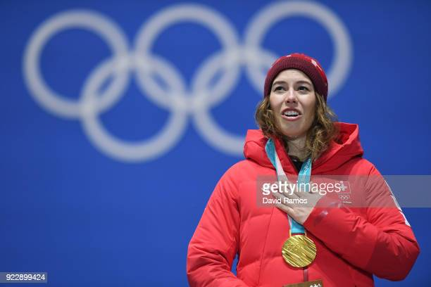 Gold medalist Michelle Gisin of Switzerland celebrates during the medal ceremony for Alpine Skiing Ladies' Alpine Combined Slalom on day 13 of the...