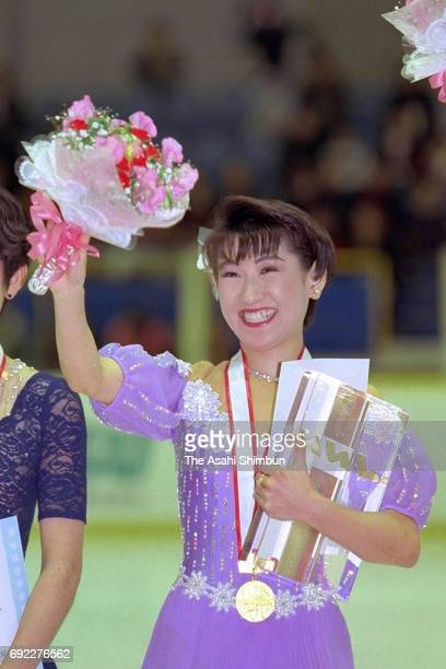 Gold medalist Midori Ito celebrates on the podium at the medal ceremony for the Women's Singles during day three of the 64th Japan Figure Skating...