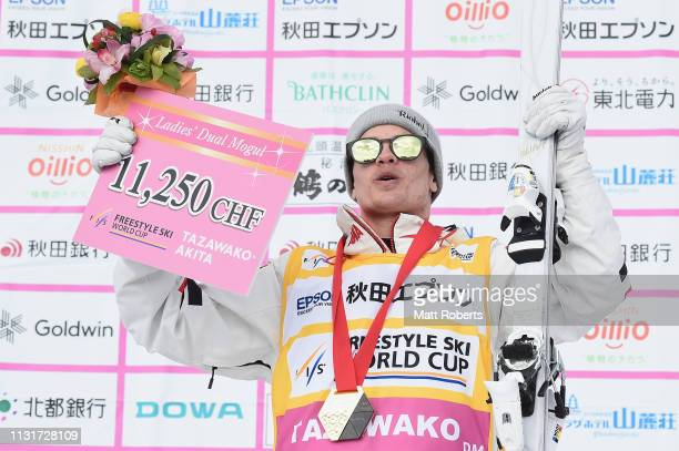 Gold medalist Mikael Kingsbury of Canada celebrates during the medal ceremony on day two of the Men's FIS Freestyle Skiing World Cup Tazawako on...