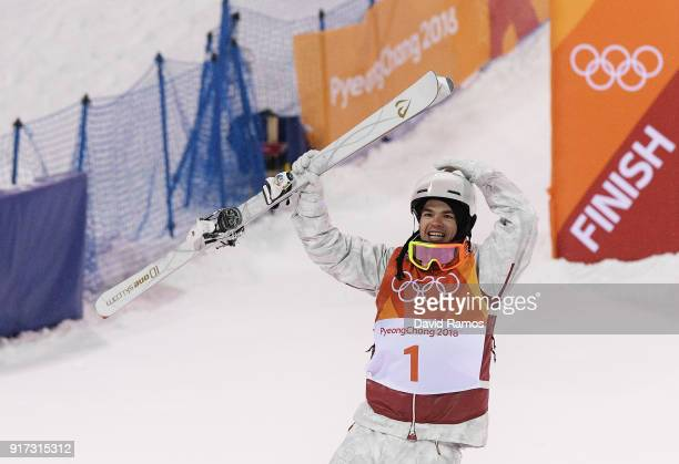 Gold medalist Mikael Kingsbury of Canada celebrates winning the Freestyle Skiing Men's Moguls Final on day three of the PyeongChang 2018 Winter...