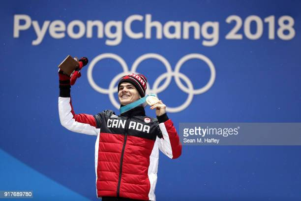 Gold medalist Mikael Kingsbury of Canada poses during the medal ceremony for the Freestyle Skiing Men's Moguls on day four of the PyeongChang 2018...