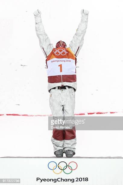Gold medalist Mikael Kingsbury of Canada poses during the victory ceremony for the Freestyle Skiing Men's Moguls Final on day three of the...