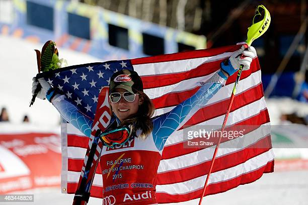 Gold medalist Mikaela Shiffrin of the United States celebrates after the Ladies' Slalom on the Golden Eagle racecourse on Day 13 of the 2015 FIS...