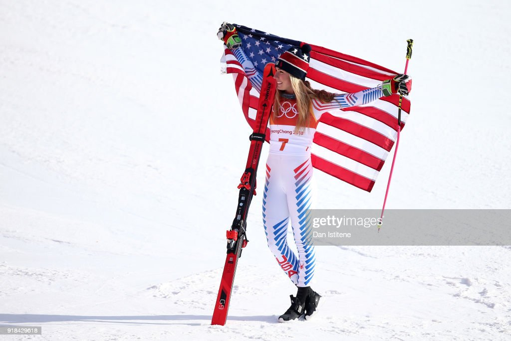 Gold medalist Mikaela Shiffrin of the United States celebrates after the Ladies' Giant Slalom on day six of the PyeongChang 2018 Winter Olympic Games at Yongpyong Alpine Centre on February 15, 2018 in Pyeongchang-gun, South Korea.