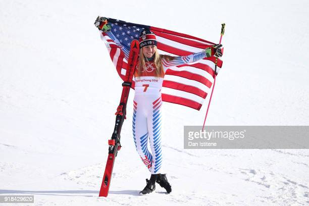 Gold medalist Mikaela Shiffrin of the United States celebrates after the Ladies' Giant Slalom on day six of the PyeongChang 2018 Winter Olympic Games...
