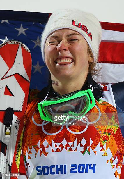 Gold medalist Mikaela Shiffrin of the United States celebrates during the flower ceremony for the Women's Slalom during day 14 of the Sochi 2014...