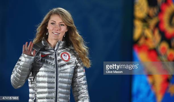 Gold medalist Mikaela Shiffrin of the United States celebrates during the medal ceremony for the Women's Slalom on Day 15 of the Sochi 2014 Winter...