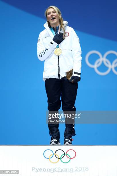 Gold medalist Mikaela Shiffrin of the United States celebrates during the medal ceremony for Alpine Skiing Ladies' Giant Slalom on day six of the...
