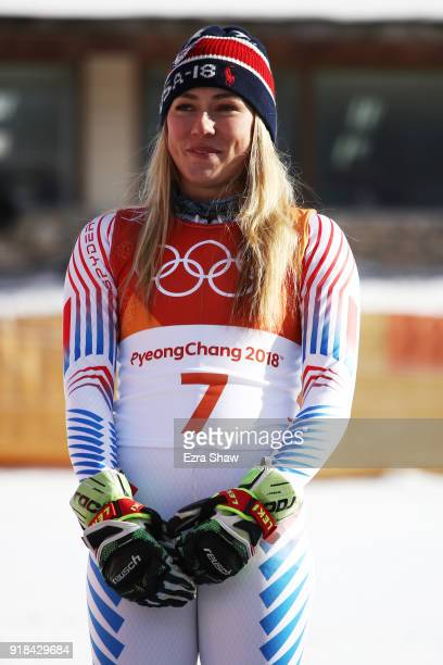 Gold medalist Mikaela Shiffrin of the United States poses on the podium after the Ladies' Giant Slalom on day six of the PyeongChang 2018 Winter...