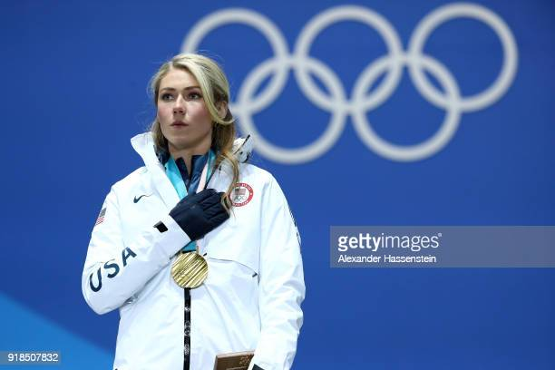 Gold medalist Mikaela Shiffrin of the United States stands on stage during the medal ceremony for Alpine Skiing Ladies' Giant Slalom on day six of...