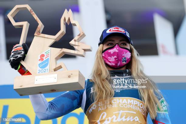 Gold medalist Mikaela Shiffrin of United States celebrates following her victory the FIS World Ski Championships Women's Alpine Combined at Olympia...