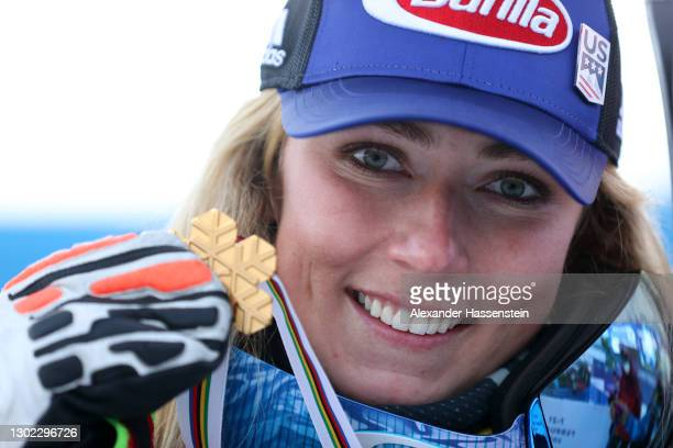 Gold medalist Mikaela Shiffrin of United States celebrates on the podium during the medal ceremony for the FIS World Ski Championships Women's Alpine...