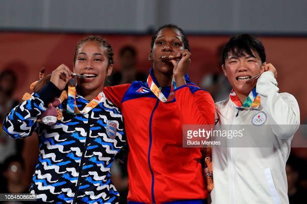Gold medalist Milaimys de la Caridad Marin Potrille of Cuba Silver medalist Linda Marilina Machuca of Argentina and Bronze medalist Juka Kagami of...