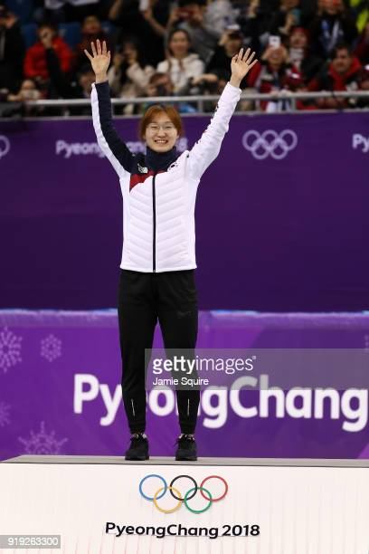 Gold medalist Minjeong Choi of Korea celebrates during the victory ceremony after the Short Track Speed Skating Ladies' 1500m Final A on day eight of...