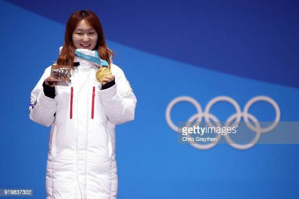 Gold medalist Minjeong Choi of Korea celebrates during the victory ceremony for the Short Track Speed Skating Ladies' 1500m on day nine of the...