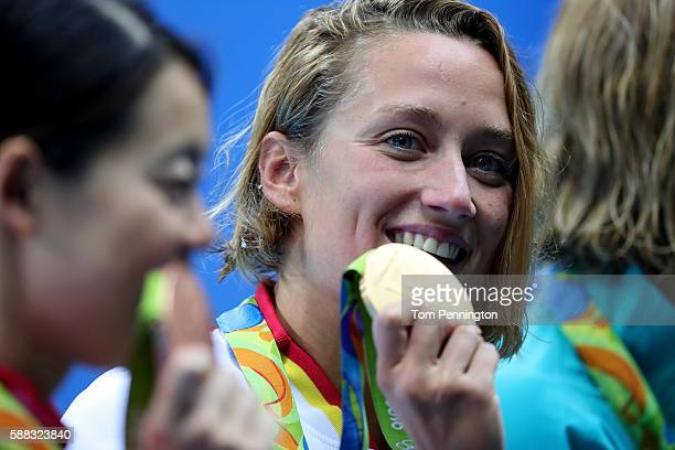 Gold medalist Mireia Belmonte Garcia of Spain poses during the medal ceremony for the Women's 200m Butterfly Final on Day 5 of the Rio 2016 Olympic...