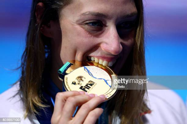 Gold medalist Mireia Belmonte of Spain poses with the medal won during the Women's 200m Butterfly final on day fourteen of the Budapest 2017 FINA...