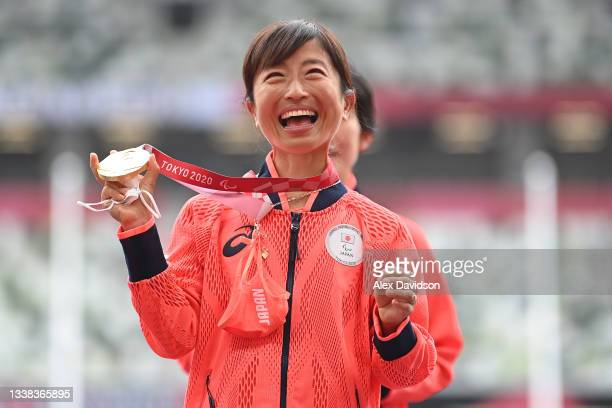 Gold medalist Misato Michishita of Team Japan poses during the women's Marathon - T12 medal ceremony on day 12 of the Tokyo 2020 Paralympic Games at...