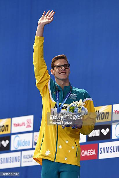 Gold medalist Mitch Larkin of Australia poses during the medal ceremony for the Men's 200m Backstroke on day fourteen of the 16th FINA World...