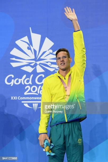 Gold medalist Mitch Larkin of Australia poses during the medal ceremony for the Men's 200m Individual Medley Final on day six of the Gold Coast 2018...