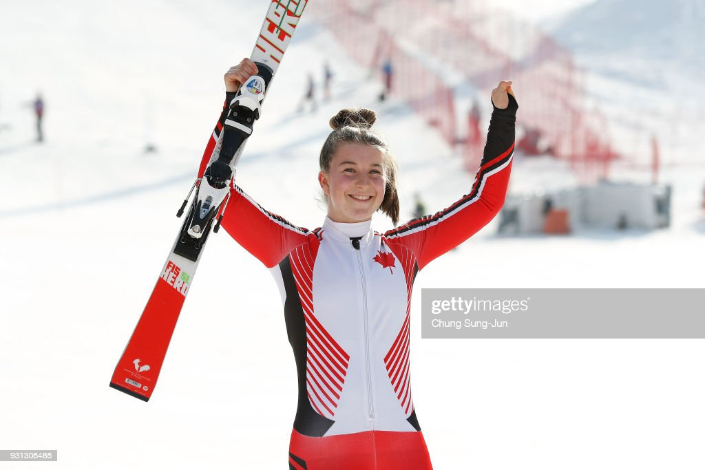 Gold medalist Mollie Jepsen of Canada celebrates at the victory ceremony in the Alpine Skiing - Women's Super Combined, Standing during day four of the PyeongChang 2018 Paralympic Games on March 13, 2018 in Pyeongchang-gun, South Korea.