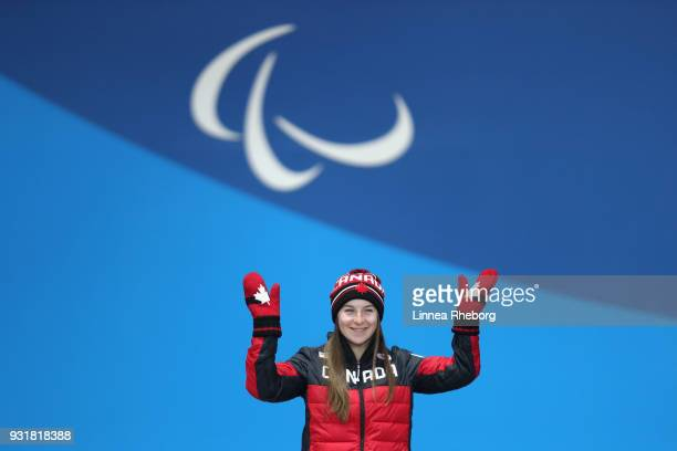 Gold medalist Mollie Jepsen of Canada celebrates during the medal ceremony for Women's Super Combined Standing during day five of the PyeongChang...