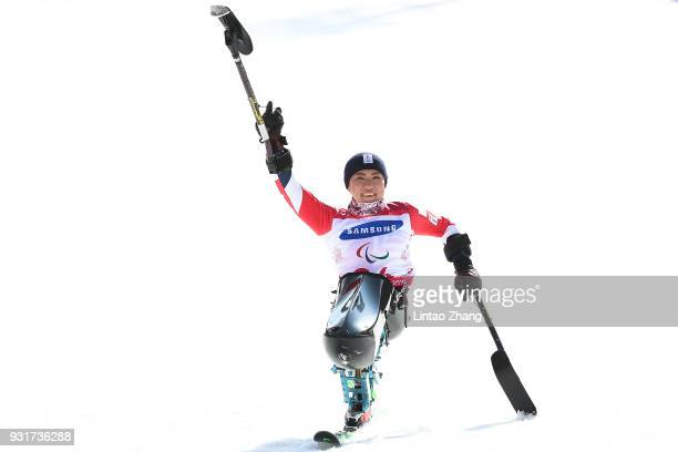 Gold Medalist Momoka Muraoka of Japan celebrates during the victory ceremony following the Women's Giant Slalom Sitting at the PyeongChang 2018...