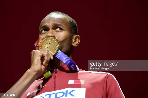 Gold medalist Mutaz Essa Barshim of Qatar poses during the medal ceremony for the Men's High Jump on day nine of 17th IAAF World Athletics...