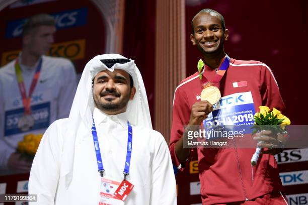 Gold medalist Mutaz Essa Barshim of Qatar poses with Sheikh Joaan Al Thani, President LOC Doha 2019 during the medal ceremony for the Men's High Jump...