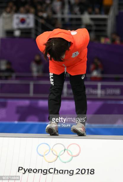 Gold medalist Nana Takagi of Japan celebrates during the medal ceremony after the Ladies' Speed Skating Mass Start Final on day 15 of the PyeongChang...