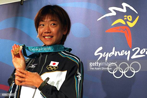 Gold medalist Naoko Takahashi of Japan attends a press conference a day after the Women's Marathon at the Main Press Centre during the Sydney...