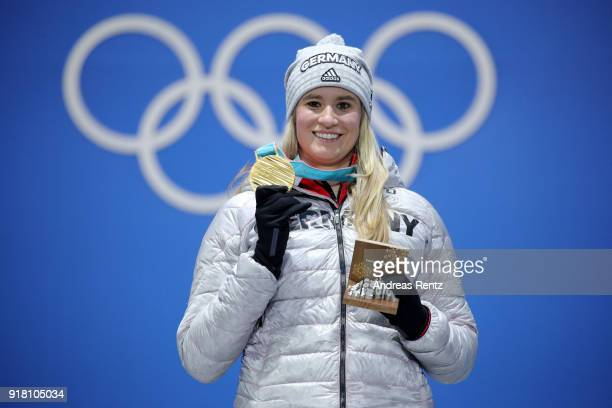 Gold medalist Natalie Geisenberger of Germany poses during the medal ceremony for Luge Women's Singles on day five of the PyeongChang 2018 Winter...