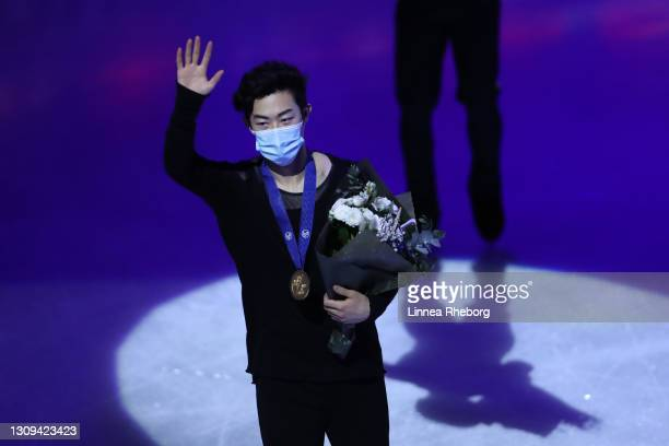 Gold medalist Nathan Chen of United States celebrates during the medal ceremony for Men Short Program and Men Free Skating during day four of the ISU...