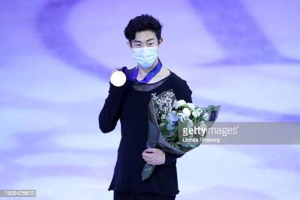 Gold medalist Nathan Chen of United States poses for a photo during the medal ceremony for Men Short Program and Men Free Skating during day four of...