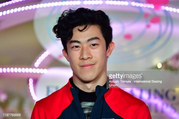 Gold medalist Nathan Chen of the United States is interviewed at the kiss and cry after competing in the Men Free Skating on day four of the 2019 ISU...