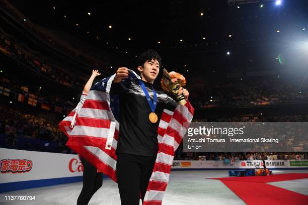 Gold medalist NathanChen of the United States laps the rink after the medal ceremony for the Men's single on day four of the 2019 ISU World Figure...