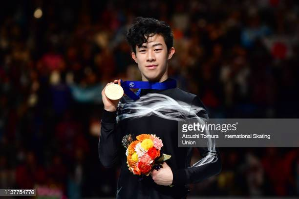 Gold medalist Nathan Chen of the United States poses for photographs after the medal ceremony for the Men's single on day four of the 2019 ISU World...