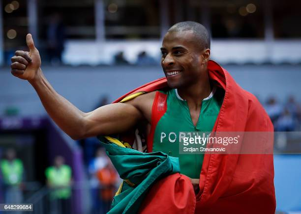 Gold medalist Nelson Evora of Portugal celebrates following the Men's Triple Jump final on day three of the 2017 European Athletics Indoor...