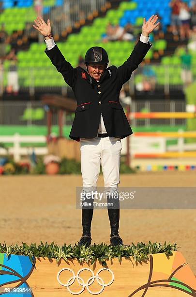 Gold medalist, Nick Skelton of Great Britain riding Big Star celerates after the Equestrian Jumping Individual Final Round on Day 14 of the Rio 2016...